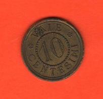 Italia 10 Centesimi Fine '800 Moneta Di Necessità - Monetari/ Di Necessità