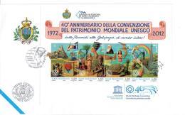 SAN MARINO 2012 - 40° CONVENZIONE PATRIMONIO MONDIALE UNESCO  - FOGLIETTO - FDC - FDC