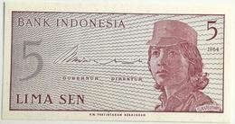 Billete Indonesia. 5 Sen. 1964. Original. Sin Circular - Indonesia