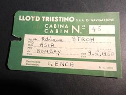 19843) LLOYD TRIESTINO NAVE ASIA BIGLIETTO CABINA 1960 - Boats