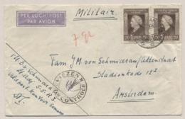 Nederlands Indië - 1948 - 2x 20 Cent Wilhelmina Met Deviezen Controle Semarang Op Cover Van Militair Naar Amsterdam - Indes Néerlandaises