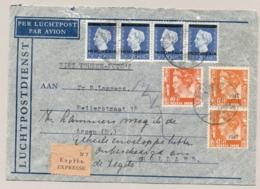 Nederlands Indië - 1949 - 7x Wilhelmina Fl 1,15 Mengfrankering Op Expresse Cover Van Palembang Naar Assen/5 / Nederland - Nederlands-Indië