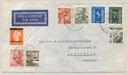 Nederlands Indië - 1949 - 8 Zegels 40 Cent Mengfrankering Op LP-cover Soerabaja Naar Amsterdam / Nederland - Netherlands Indies