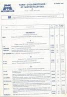 Doc Format A4 Tarifs Motobecane Cyclomoteurs Velosolex 30 03 1981 - France
