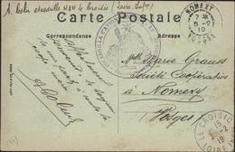 Guerre 1914 Cachet Déesse Assise Escadrille D'avions Côtiers Le Croisic Le Commandant CPA Le Croisic Quai Grande Chambre - Postmark Collection (Covers)