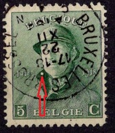 BELGIQUE YT N°167 OBLITERE VARIETE TACHE BLANCHE SUR LE COL - 1919-1920 Albert Met Helm