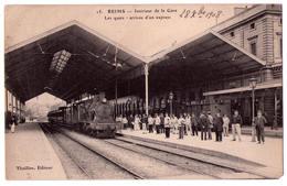 3708 - Reims ( 51 ) - Intérieur De La Gare , Les Quais , Arrivée D'un Express - Thuillier édit. N°15 - - Reims