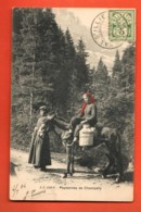 VAD-15 Paysannes De Champéry Avec Leur Mulet, Boille à Lait. Foulards Rouges.Précurseur Circulé1904 Jullien 1226b - VS Valais