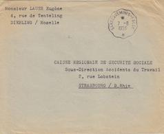 Lettre En Franchise Obl Ambulant Sarreguemines-Falk Le 7/8/56 Pour Strasbourg (sécurité Sociale) - 1921-1960: Période Moderne
