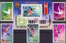 NORTH KOREA 1981, SPORT, 100 Years WORLD GYMNASTICS FEDERATION, COMPLETE MNH SET+Bl. GOOD QUALITY, *** - Korea, North