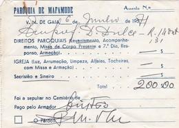 PORTUGAL COMMERCIAL DOCUMENT - VILA NOVA DE GAIA - PAROQUIA DE MAFAMUDE - Portugal