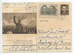 Czechoslovakia 1951 Stalin Postal Card Prague To Amberg Germany - Postal Stationery