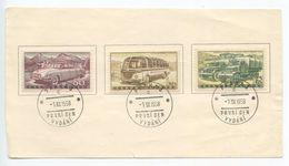 Czechoslovakia 1958 Scott 893-895 Automobile Industry FDC Sheetlet - FDC