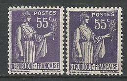 TYPE PAIX N° 363 X 2 Nuances NEUF** GOM D'ORIGINE SANS CHARNIERE / MNH - 1932-39 Paix