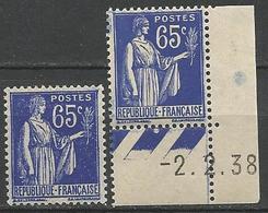 TYPE PAIX N° 365 X 2 Nuances NEUF** GOM D'ORIGINE SANS CHARNIERE / MNH - 1932-39 Paix