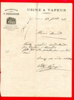 FACTURE (Réf : D475) USINE A VAPEUR BRASSERIE V. FEURSINGER PAMIERS (Ariège) - 1800 – 1899