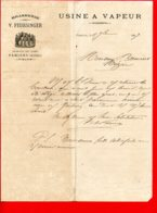 FACTURE (Réf : D482) USINE A VAPEUR BRASSERIE V. FEURSINGER PAMIERS (Ariège) - 1800 – 1899