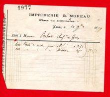 FACTURE (Réf : D487) IMPRIMERIE B. MOREAU NANTES - France