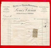 FACTURE (Réf : D488) HÔTEL DU GRAND MONARQUE LOUIS VIEAU NANTES - France