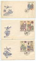 Czechoslovakia 1967 Scott C59/C65 PRAGA 1968 World Stamp Exhibition 3 FDCs - FDC