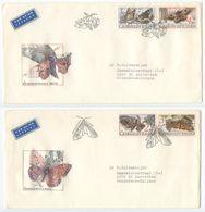 Czechoslovakia 1987 2 FDCs Scott 2647-2650 Butterflies - FDC