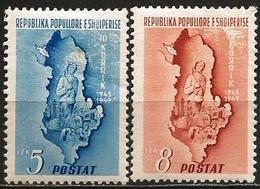 Albania 1949 Scott 439 440 MNH High Values Albania's Army, Map - Albania