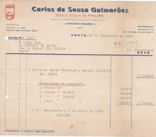 PORTUGAL COMMERCIAL DOCUMENT - PORTO - CARLOS DE SOUZA GUIMARÃES - AGENTE PHILIPS - Portugal