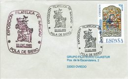 ENVELOPE CANCELLATION EXPOSITION PHILATÉLIQUE - NOEL POLA DE SIERO 1985 - Religiones