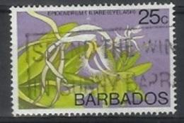 1974 25 Cents Epidendrum Ciliare, Used - Barbados (1966-...)