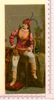 CHROMO LITHO..GRAND FORMAT...H  19 Cm    JEUNE FEMME EN HABIT ORIGINAL - Vieux Papiers