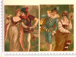 2 CHROMOS LITHOS..GRAND FORMAT...H  15 Cm    SCÈNES GALANTES - Vieux Papiers