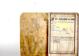 Livret Individuel D'un Soldat 1870 Du 75 Régt D'infanterie De Ligne (livret Complet Dans Son Jus - Documents Historiques
