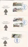 PARQUES NACIONALES ARGENTINOS I-FDC 1987 LA PLATA, L'ARGENTINE. CARD LOTE X 3- BLEUP - Milieubescherming & Klimaat
