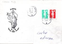 FS FLOREAL Cachet Traverse Longue Durée TLD (retour à Lorient) Obl. Lorient Naval 29/11/91 - Marcophilie (Lettres)