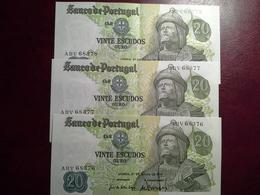 20 Escudos  27.06.1971   - 3 Notas - Portugal