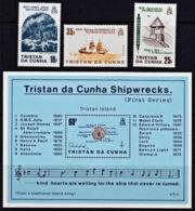 B0297 TRISTAN DA CUNHA 1985, SG 386-MS389 Shipwrecks (1st Series), MNH - Tristan Da Cunha