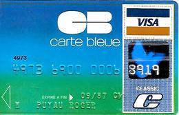 -CARTE+-MAGNETIQUE-CB-CARTE BLEUE-VISA-Groupe S.C.D.B-ExP 09/87-BULL TRANSAC 01/86-TBE-RARE - Frankreich