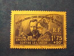 """1938- Timbre Oblitéré N°402      """" Pierre Et Marie Curie 1f75+50 Bleu        """"     Cote 12.5     Net   4 .15 - Oblitérés"""