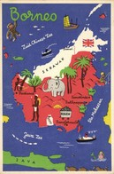 Indonesia, BORNEO, Kalimantan Sarawak Map Postcard, Elephant, Oil Coal (1940s) - Indonesië