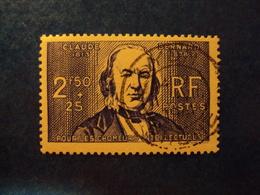 """1938- Timbre Oblitéré N°464a       """"claude Bernard 2f 50-papier épais  """"     Cote  8.5    Net 2.80 - Oblitérés"""