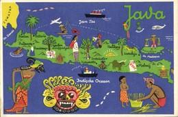 Indonesia, JAVA, Map Postcard, Mask Wajang Wayang Madoera Native People (1940s) - Indonesië