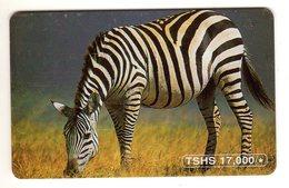 TANZANIE  REF Mvcards TAN-TT-08 2002 ZEBRE Small RED BN 000+5 Digits - Tanzania