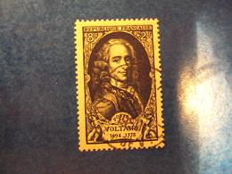 """1949-timbre Oblitéré N°854      """"  Voltaire        """"       Cote  4       Net    1.30 - France"""