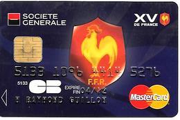 CARTE+PUCE-MAGNETIQUE-CB-SOCIETE GENERALE-VISA-Visuel RUGBY 15 DE FRANCE-COQ-V°ICA 1031-10/09-Sagem Orga-TBE-RARE - France