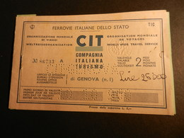 19843) FERROVIE ITALIANE BIGLIETTO TRENO GENOVA MODANE 1960 - Treni