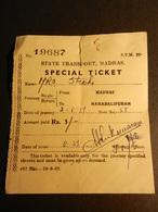 19843) BIGLIETTO SPECIAL TICKET TRENO INDIA MADRAS MAHABALIPURAM 1959 STRAPPO IN ALTO - Ferrovie