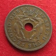 Rhodesia & Nyasaland 1 One Penny 1955 KM# 2  Elephant Elefante  Rodesia Rhodesie - Rhodésie