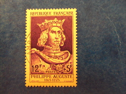 """1955   -timbre Oblitéré N°1027      """"    Philippe Auguste      """"       Cote   19      Net       6.30 - France"""