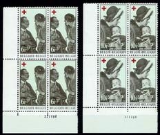 Belgien Belgie Belgium 1968 - Rotes Kreuz. Königin Elisabeth, Königin Fabio- MiNr 1509/10 OBP 1454/55 Vierenblock. - Rotes Kreuz