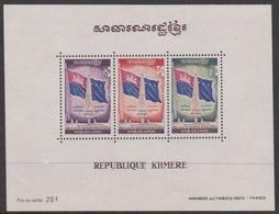Cambodia Scott 268a 1971 Flag Souvenir Sheet, Mint Never Hinged - Cambodge